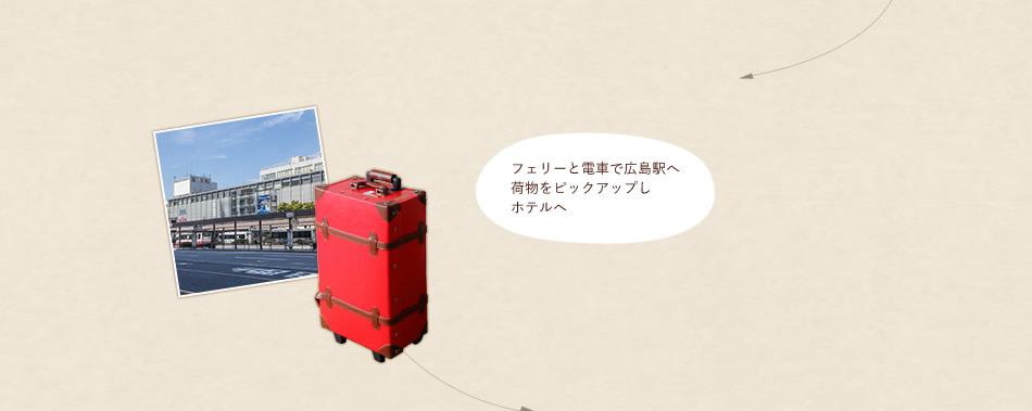フェリーと電車で広島駅へ 荷物をピックアップしホテルへ